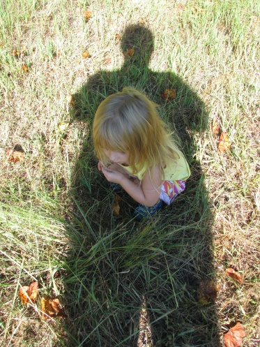 What I see is my big shadow entirely covering my little niece as she sits in the grass. What I hope is that I can be a good enough example for her, that my deeds might cast half as great a shadow on her life as that literal one. What I fear is I'll fall far, far short of even half.